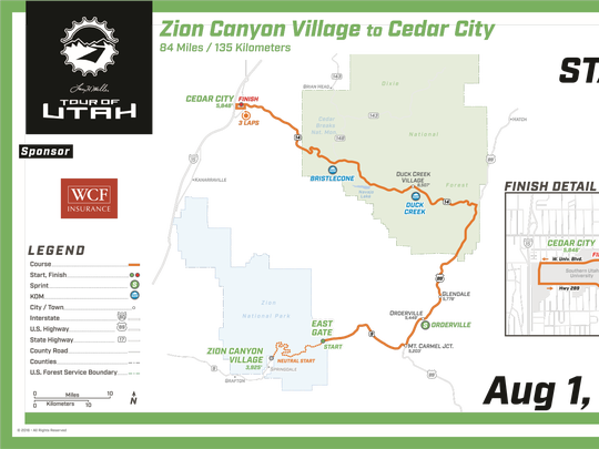 The route for the first stage of the 2016 Larry H.