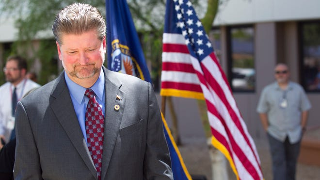 Phoenix Veternas Admimistration Health Care System Interim Director Glenn Costie speaks during a news conference at the Carl T. Hayden VA Medical Center in Phoenix on Tuesday, Aug. 26, 2014. Government investigators found no proof that delays in care caused veterans to die at a Phoenix VA hospital, but they found plenty of problems that the Veterans Affairs Department is promising to fix. Investigators uncovered large-scale improprieties in the way VA hospitals and clinics across the nation have been scheduling veterans for appointments, according to a report released Tuesday, Aug. 26, 2014, by the VA's Office of Inspector General.