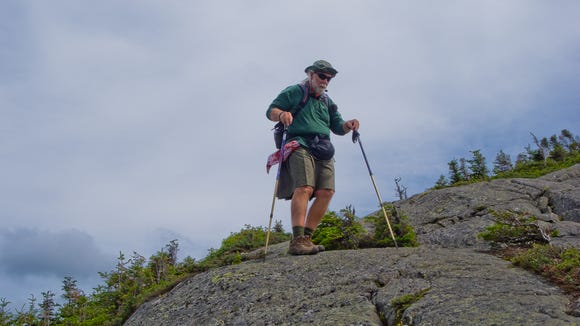 It's good to be a bit quicker than your hiking partner when he wears a kilt to hike! With David during the 2012 Seek the Peak Hike in New Hampshire.
