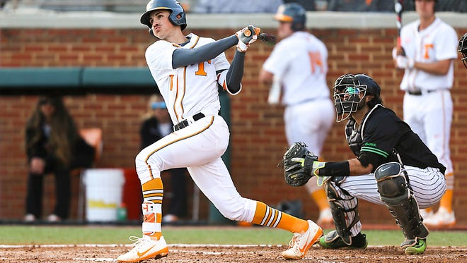 Jordan Rodgers homered for Tennessee Saturday but it wasn't enough to offset four Kentucky home runs in an 8-3 loss in Lexington, Ky.