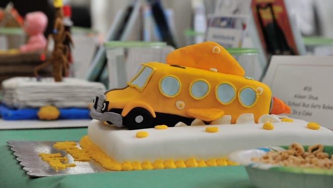 The Magic School Bus Gets Baked In a Cake by Aileen Shue was on display at the annual Edible Book Festival held at the Rutherford Public Library on Saturday.