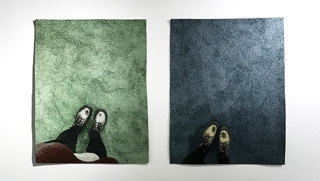 Fiber art will be on display at Gordy Fine Art and Framing during August. Pictured is  work by Allison Smith, 510 W 27th Street & 555 W 22nd Street (Diptych), Industrial woven jacquard tapestry