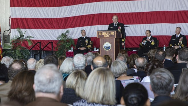 NORFOLK, Va. (Oct. 19, 2017) -- Rear Adm. Roy Kelley gives remarks during a change of command ceremony for Commander, Naval Air Force Atlantic in USS Gerald R. Ford's (CVN 78) hangar bay. Kelley relieved Rear Adm. Bruce Lindsey of command. (U.S. Navy photo by Mass Communication Specialist 3rd Class Gitte Schirrmacher)