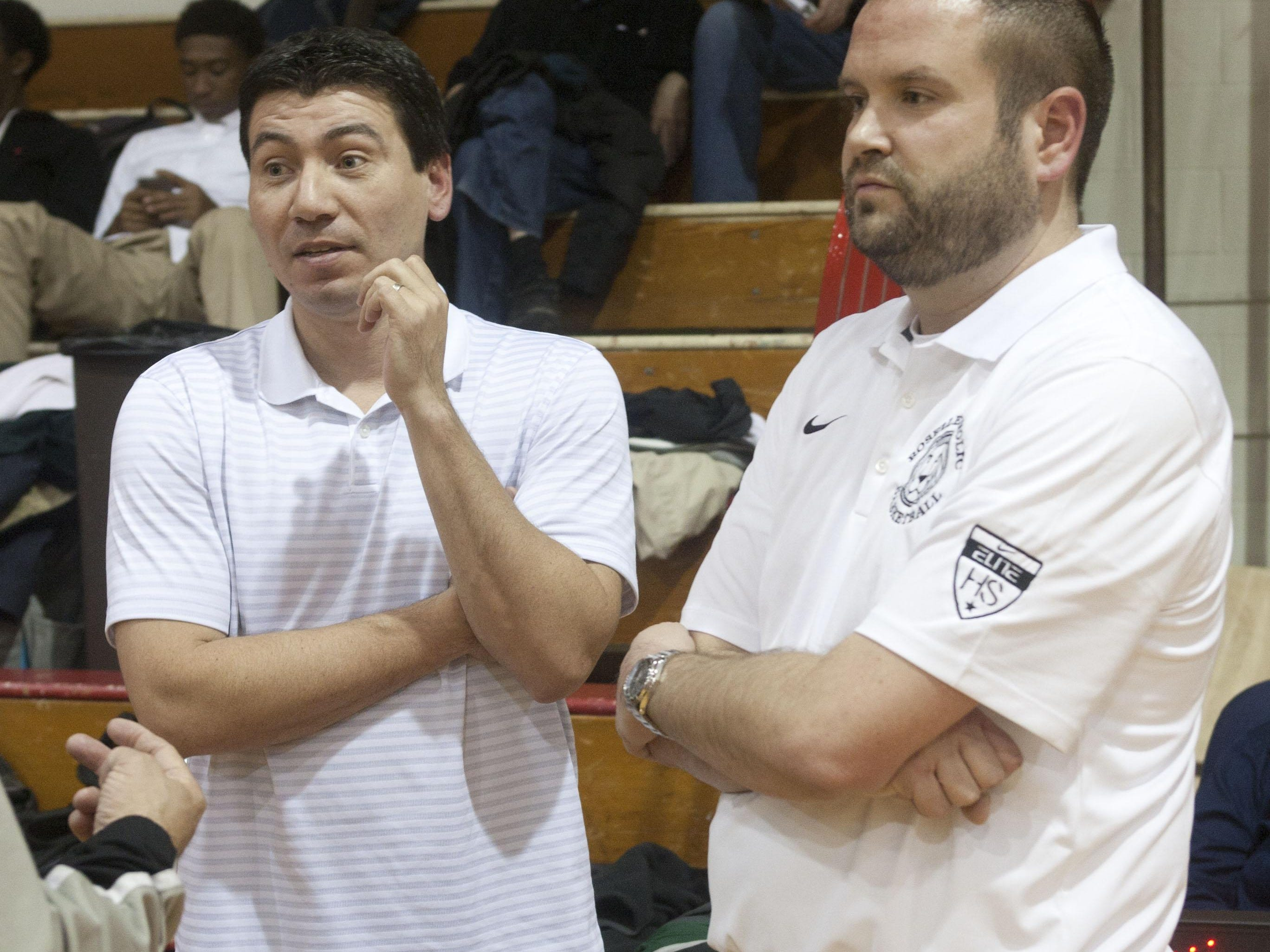 Dave Boff (right) and John Giraldo (left) Roselle Catholic HS basketball coaches at a scrimmage at Pt. Pleasant Beach HS - December 15, 2014-Pt. Pleasant, NJ.-