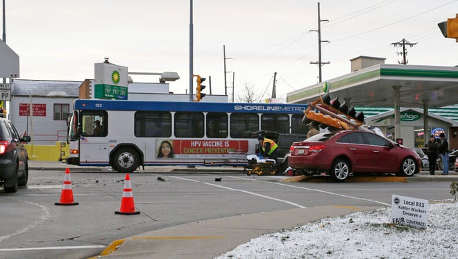 Scenes from the multiple vehicle car and bus crash Saturday November 21, 2015 in Sheboygan.