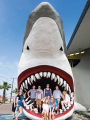 This massive open-jawed shark sculpture, a popular photo opportunity, escaped the Harvey's wrath, though Destination Beach & Surf — the spacious shop that it promotes — was forced to rebuild, opening during spring break.