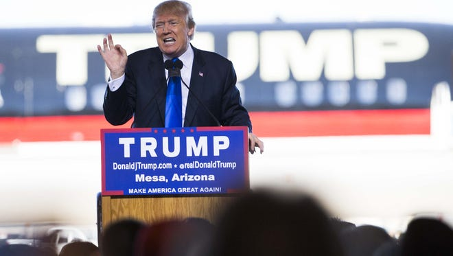 Republican presidential candidate Donald Trump speaks during a campaign rally at Phoenix-Mesa Gateway Airport in December.