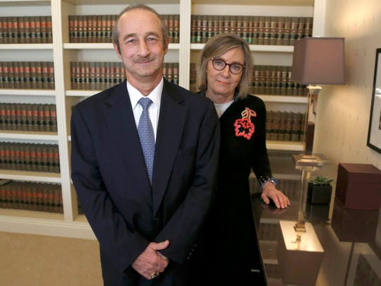 Russell Maisano with his lawyer Deborah Gordon at her law offices in Bloomfield Hills on Thursday, March 22, 2018. Maisano worked for 37 years at Sterling Heights Dodge and he is suing the car dealership for age discrimination after being terminated.