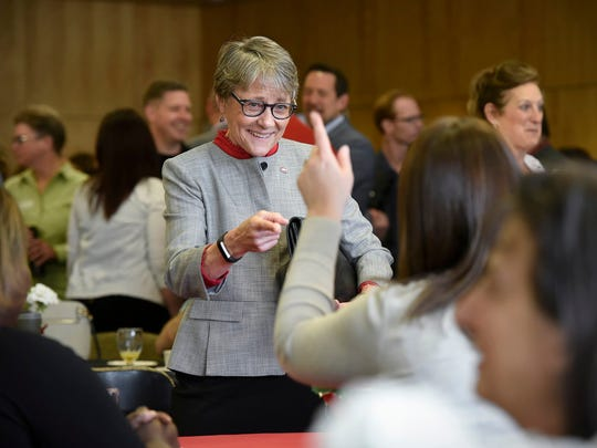 New St. Cloud State University President Robbyn Wacker talks with faculty and guests during a reception in May at Atwood Memorial Center.