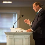 "Southern Baptist Theological Seminary President Rev. Albert Mohler Jr. speaks a message on ""The Great Shepherd of the Sheep"" from Hebrews 13:20-21 in the Holy Bible during Heritage Week, Tuesday, Oct. 12, 2015 at Southern Baptist Theological Seminary's Alumni Memorial Chapel in Louisville."