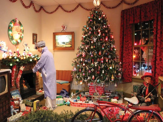 Another display recreates a typical Christmas morning in the United States around the middle of the last century.