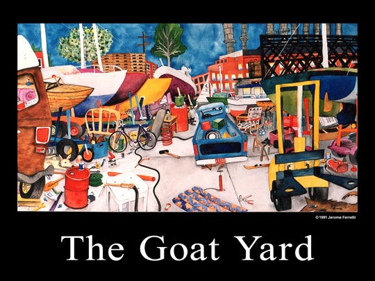 "The Goat Yard"" is a film by Kimberly Stricker and Michael Pfaendtner that uses old and new footage to chronicle the the Detroit Boat Works (also known as The Goat Yard), the club's history and its current destination as an urban playground, complete with an old Detroit fire engine, school bus, and the remains of a sunken schooner. The original artwork by Jerome Ferretti captures the mood of the sailing club."