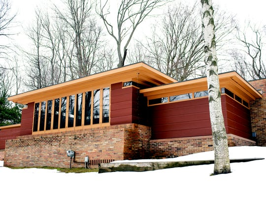 A view of the back of the Goetsch-Winckler House on Thursday, Feb. 15, 2018, in Okemos. The home was built in 1940 and was designed by architect Frank Lloyd Wright.