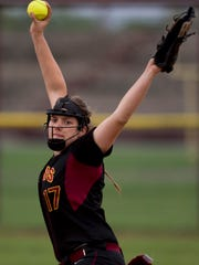 Gibson Southern's Jaime Nurrenbern delivers a pitch to a Henderson County batter during their game at the Henderson County Softball Field Monday evening.