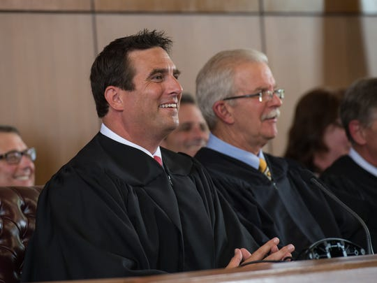 Newly appointed Circuit Court Judge, Matthew Maciarello, speaks to the audience during his investiture on Friday, July 22, 2016.