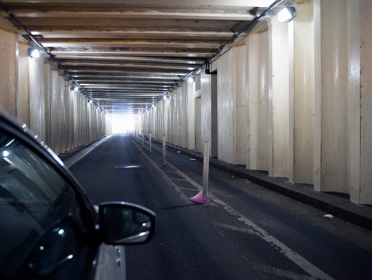 Inside the 5th Street vehicular tunnel Friday, June