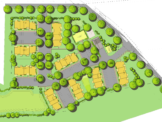A drawing of the site plan for Howell Family Apartments.