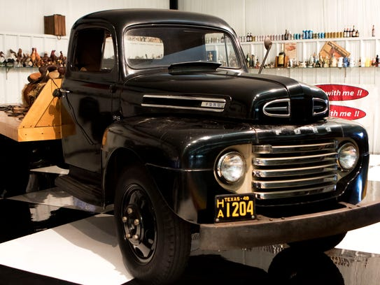 A 1948 Ford truck sits in the garage at Dolph Williams'