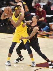 Cleveland Cavaliers guard George Hill (3) defends Indiana