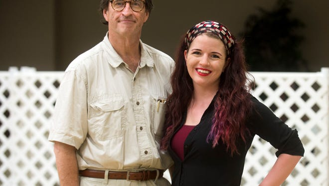 """Tom Parkhill, founding artistic director for the Tennessee Stage Company and H. Caitlin Corbitt, director of the Stage Company's production of """"The Complete Works of William Shakespeare - Abridged"""" for Shakespeare on the Square."""