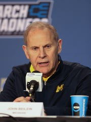 Michigan Wolverines head coach John Beilein talks with reporters before practicing for their first round NCAA tournament game against Oklahoma State on Thursday March 16, 2017 at Bankers Life Fieldhouse in Indianapolis.