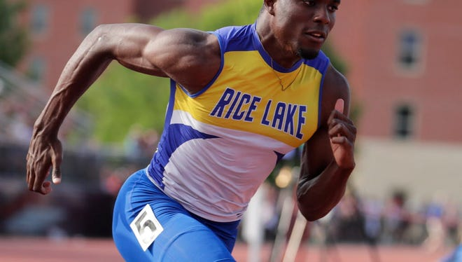 Rice Lake's Kenneth Bednarek broke state meet records in the 100 and 200 and will compete in both of those races as well as the 400 Saturday in Division 2.