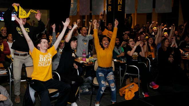 A general view of UMBC's watch party at The Commons on school grounds.