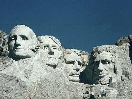 The Mount Rushmore Memorial in the Black Hills area of Keystone, S.D., is shown in 1986. The monument features the carved heads of United States presidents, from left, George Washington, Thomas Jefferson, Theodore Roosevelt and Abraham Lincoln. (AP Photo)