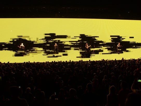 U2 perform onstage during the U2 iNNOCENCE + eXPERIENCE