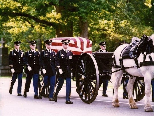 """Shiloh Butterworth performed hundreds of military funerals at Arlington National Cemetery as a member of """"The Old Guard"""" in the mid-1990s."""