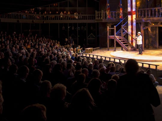 R. Scott Phillips, former executive director for the Utah Shakespeare Festival, addresses the audience in the Adams Memorial Shakespearean Theatre following the final performance there on Sept. 5, 2015.