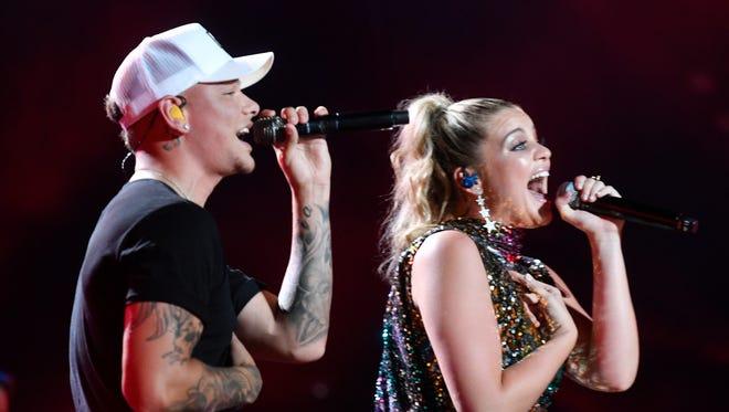 Kane Brown performs with Lauren Alaina at the 2018 CMA Music Fest Thursday, June 7 2018, at Nissan Stadium in Nashville, Tenn.