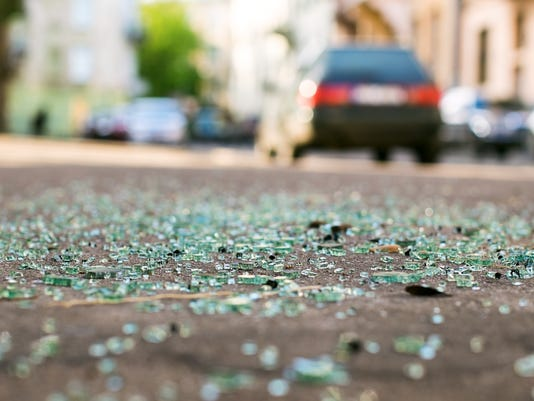 #stockphoto - accident - glass in road