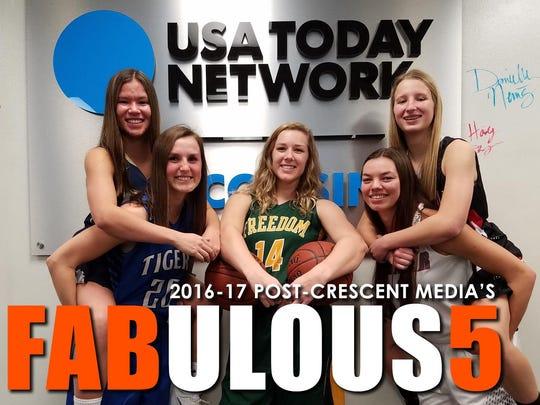 Post-Crescent Media's Fab 5 preseason girls' basketball players (from left) are Kari Brekke, Danielle Nennig, Makenna Haase, Hailey Oskey and Shay Frederick.