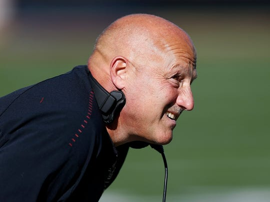 Boston College head coach Steve Addazio watches from the sidelines during the second half of an NCAA college football game against North Carolina State in Boston, Saturday, Oct. 19, 2019. (AP Photo/Michael Dwyer)