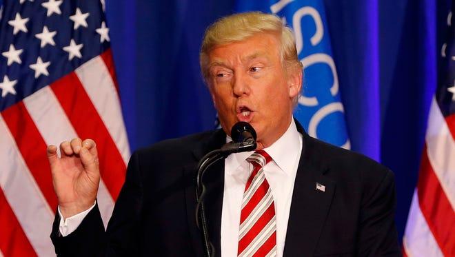 Donald Trump speaks in West Bend, Wis.