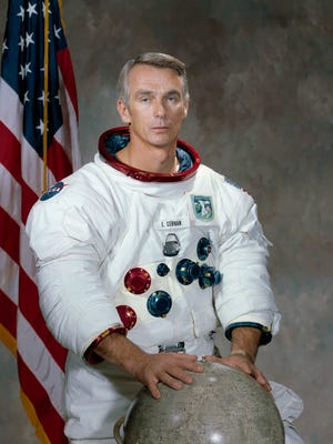 This undated photo provided by NASA shows astronaut Eugene Cernan. NASA announced that Cernan, the last man to walk on the moon, died Monday, Jan. 16, 2017, surrounded by his family. He was 82.