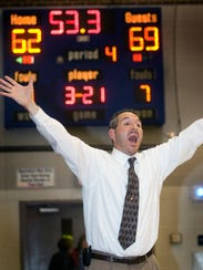 William Penn head coach Troy Sowers yells out to his