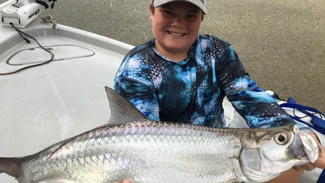 Austin Foye shows off one of his many nice catches this week while fishing with Capt. Christian Sommer while using a DOA shrimp .