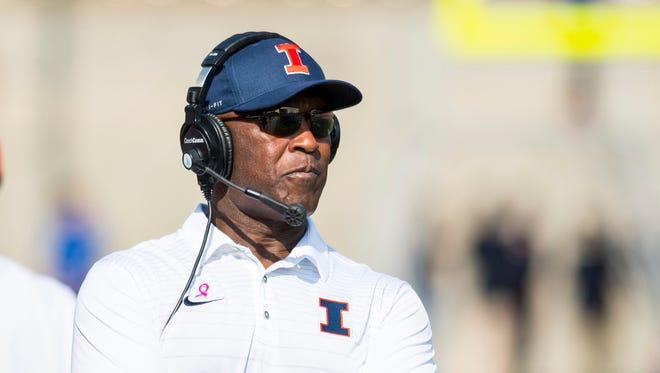 Lovie Smith is in his second season coaching the Illinois football team.