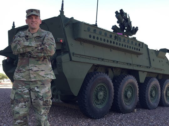 Lt. Col. Jim Gallagher is the new commander of the 501st Brigade Support Battalion. Here, he is standing in front of a Stryker.