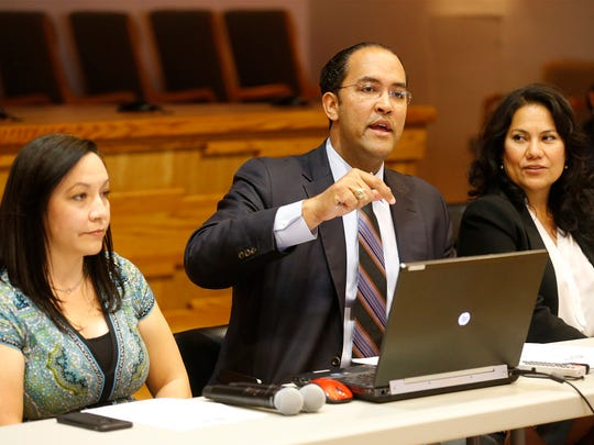 State Rep. Will Hurd addresses those in attendance Wednesday morning during the El Paso Mission Trail Public Planning Meeting held at the Ysleta Del Sur Pueblo Tribal Courtroom as San Elizario Mayor Mya Sanchez and County Judge Veronica Escobar listen in. Some of those in attendence for the meeting were Tigua Governor Carlos Hisa, members of the National Park Service, the national Parks Conservation Association and more than 25 other local stakeholders.