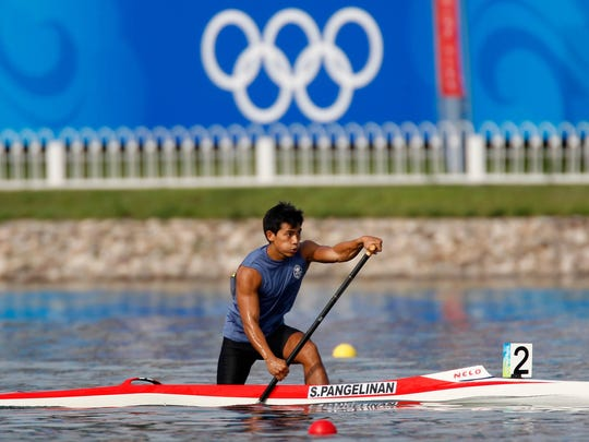 In this file photo, Sean Pangelinan competes in his canoe single 1,000-meter race at the 2008 Olympic Games in Beijing.