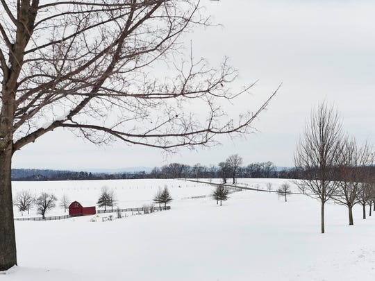 A farmhouse surrounded by snowy field on Overlook Street in North Codorus Township Wednesday, February 10, 2016. Snow Tuesday blanketed the county with a few inches of snow on top of what remained of January's major winter storm.