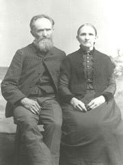 Abraham Cunningham (1816-1896) and Samantha Cunningham (1828-1896) pose for their photo. Abraham led one of the early exploratory parties into the Bald Hills of southwest Shasta County in 1850.