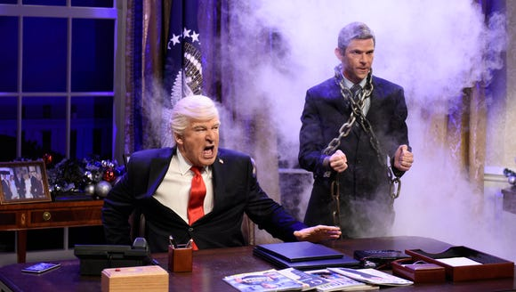 Alec Baldwin as President Donald J. Trump, is visited