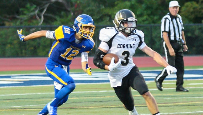 Devon Sullivan of Corning carries the ball earlier this season against Maine-Endwell.