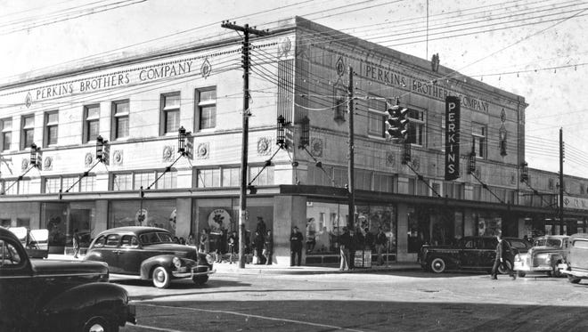 "Perkins Brothers Department Store at the corner of Carancahua and Leopard  was 11 years old when ""Doc"" McGregor snapped this photo on Nov. 22, 1940. It survived another 15 years as Perkins before it was sold in 1955 to become Lichtenstein's Uptown Store until it closed in 1968."