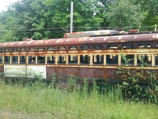 A old Louisville streetcar is on the grounds of a Canadian