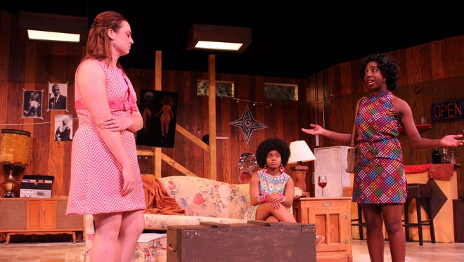 """From left, Caroline (Adrienne Hardy), Bunny (Charmaine Shaw), and Chelle (Simone Curry) debate their situation in """"Detroit '67""""."""